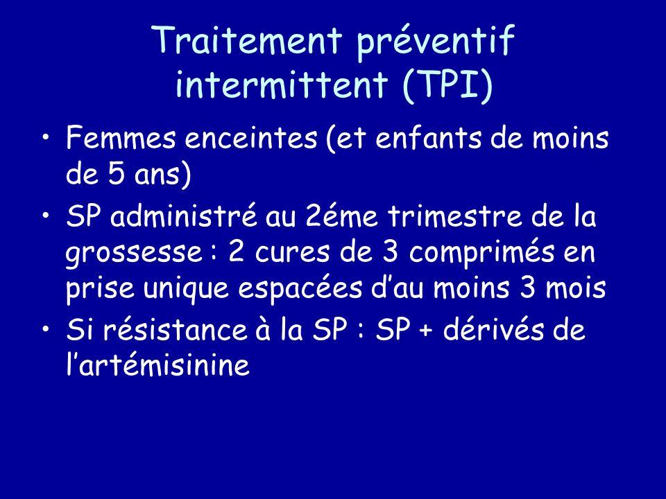 Traitement préventif intermittent (TPI) Femmes enceintes (et enfants de moins de 5 ans) SP administré au 2éme trimestre de la grossesse : 2 cures de 3