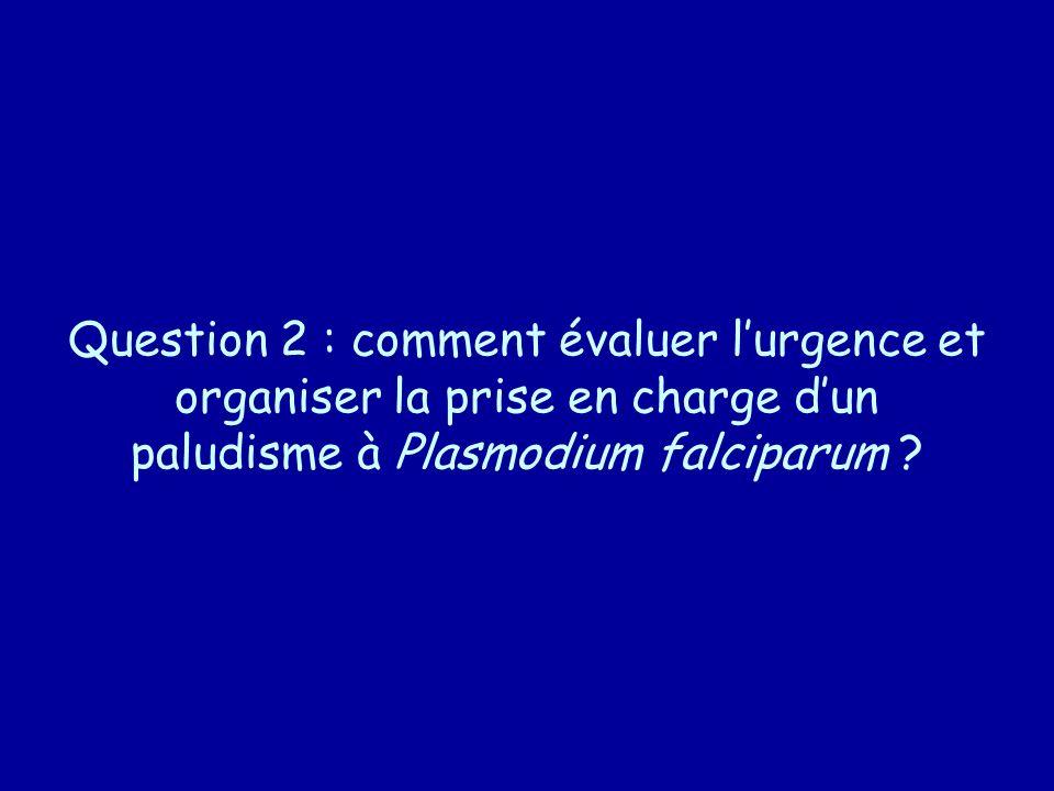 Question 2 : comment évaluer lurgence et organiser la prise en charge dun paludisme à Plasmodium falciparum ?
