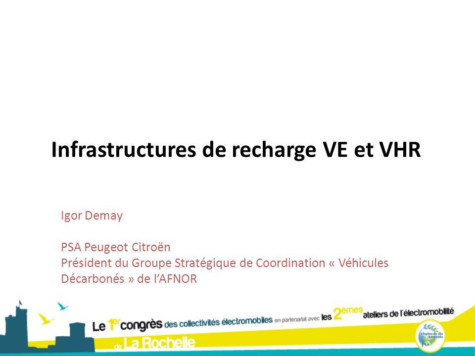 Infrastructures de recharge VE et VHR Igor Demay PSA Peugeot Citroën Président du Groupe Stratégique de Coordination « Véhicules Décarbonés » de lAFNO