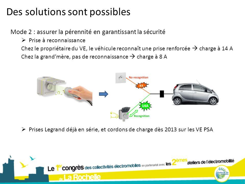 8A 14A Des solutions sont possibles 7 Mode 2 : assurer la pérennité en garantissant la sécurité Prise à reconnaissance Chez le propriétaire du VE, le
