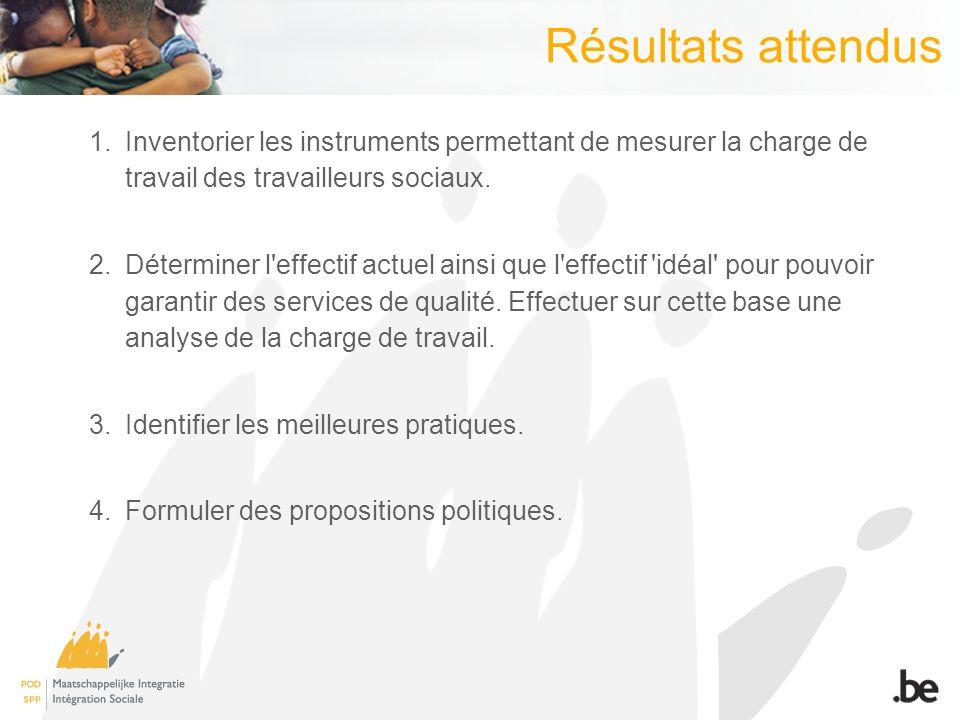 Résultats attendus 1.Inventorier les instruments permettant de mesurer la charge de travail des travailleurs sociaux.