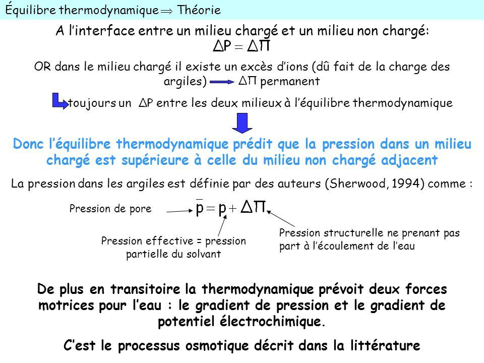 Pression de pore Pression effective = pression partielle du solvant Pression structurelle ne prenant pas part à lécoulement de leau Équilibre thermody