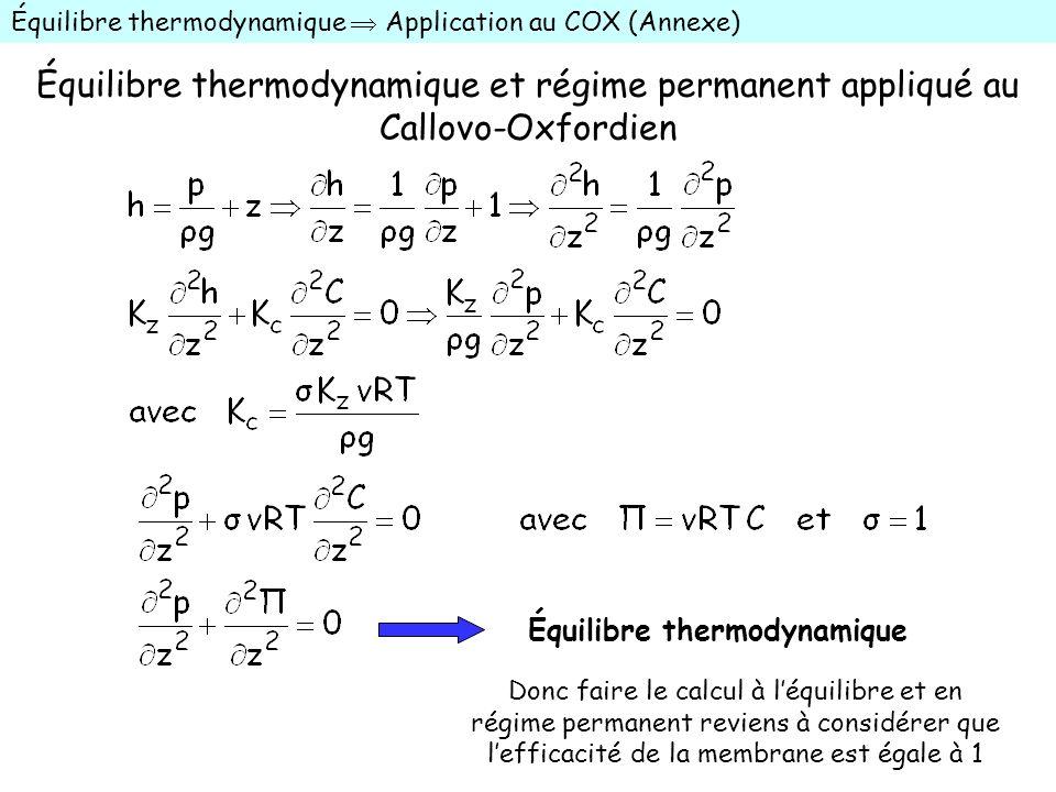 Équilibre thermodynamique et régime permanent appliqué au Callovo-Oxfordien Équilibre thermodynamique Application au COX (Annexe) Équilibre thermodyna