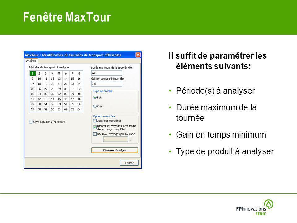Fenêtre MaxTour Il suffit de paramétrer les éléments suivants: Période(s) à analyser Durée maximum de la tournée Gain en temps minimum Type de produit à analyser