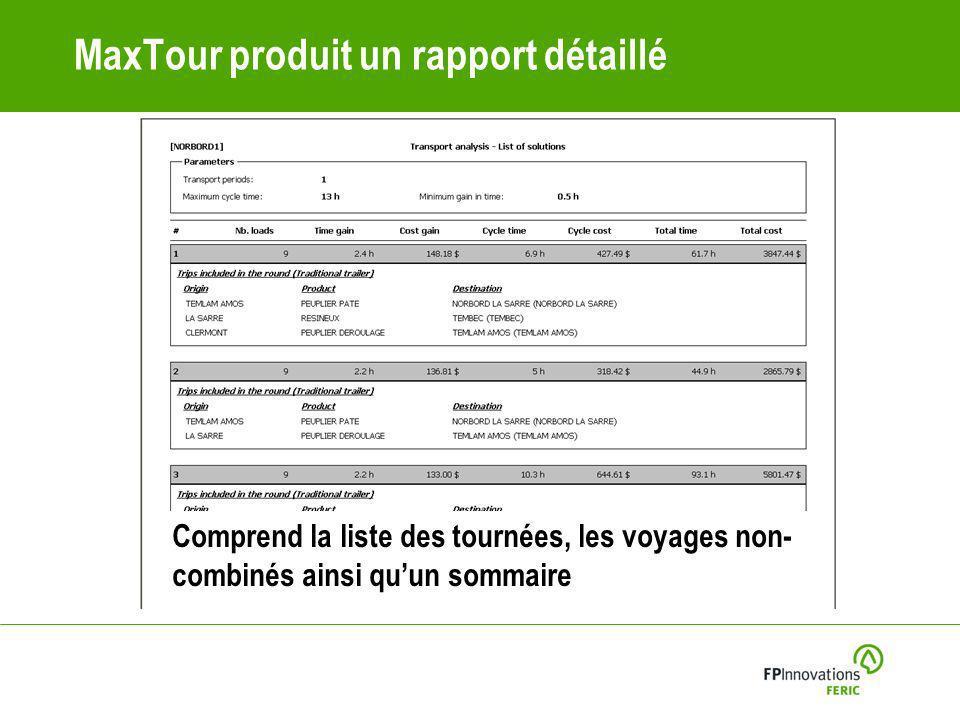MaxTour produit un rapport détaillé Comprend la liste des tournées, les voyages non- combinés ainsi quun sommaire