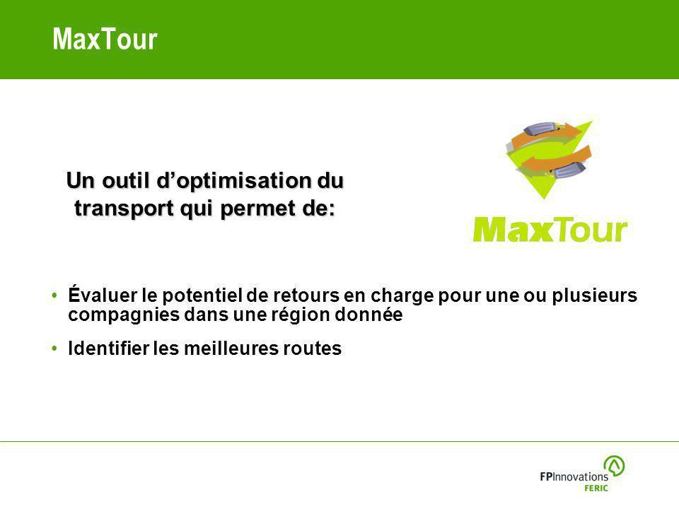 MaxTour Évaluer le potentiel de retours en charge pour une ou plusieurs compagnies dans une région donnée Identifier les meilleures routes Un outil doptimisation du transport qui permet de: