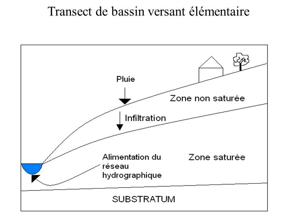 La zone saturée Les écoulements sont décrits par léquation de Darcy : Léquation de conservation de la masse sécrit : En combinant ces deux équations, on obtient léquation du mouvement: h : pression deau (m) q : flux moyen deau (m/s) K : perméabilité (m/s) S : coefficient demmagasinement (kg/m)