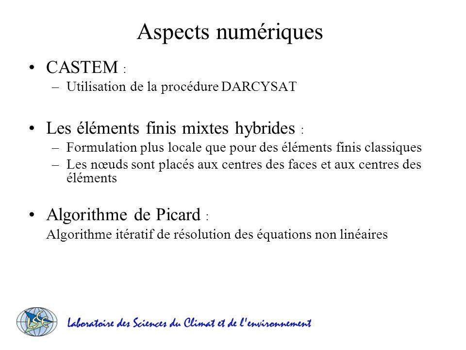 Aspects numériques CASTEM : –Utilisation de la procédure DARCYSAT Les éléments finis mixtes hybrides : –Formulation plus locale que pour des éléments