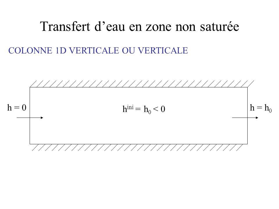 Transfert deau en zone non saturée COLONNE 1D VERTICALE OU VERTICALE h = 0h = h 0 h ini = h 0 < 0