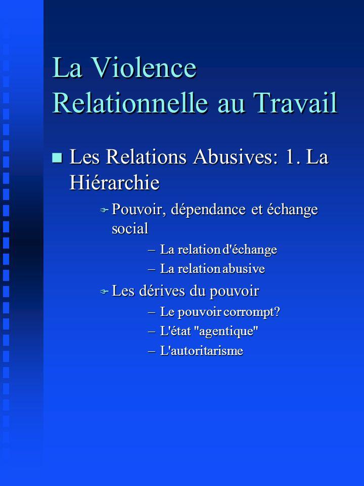 La Violence Relationnelle au Travail n Les Relations Abusives: 1. La Hiérarchie F Pouvoir, dépendance et échange social –La relation d'échange –La rel