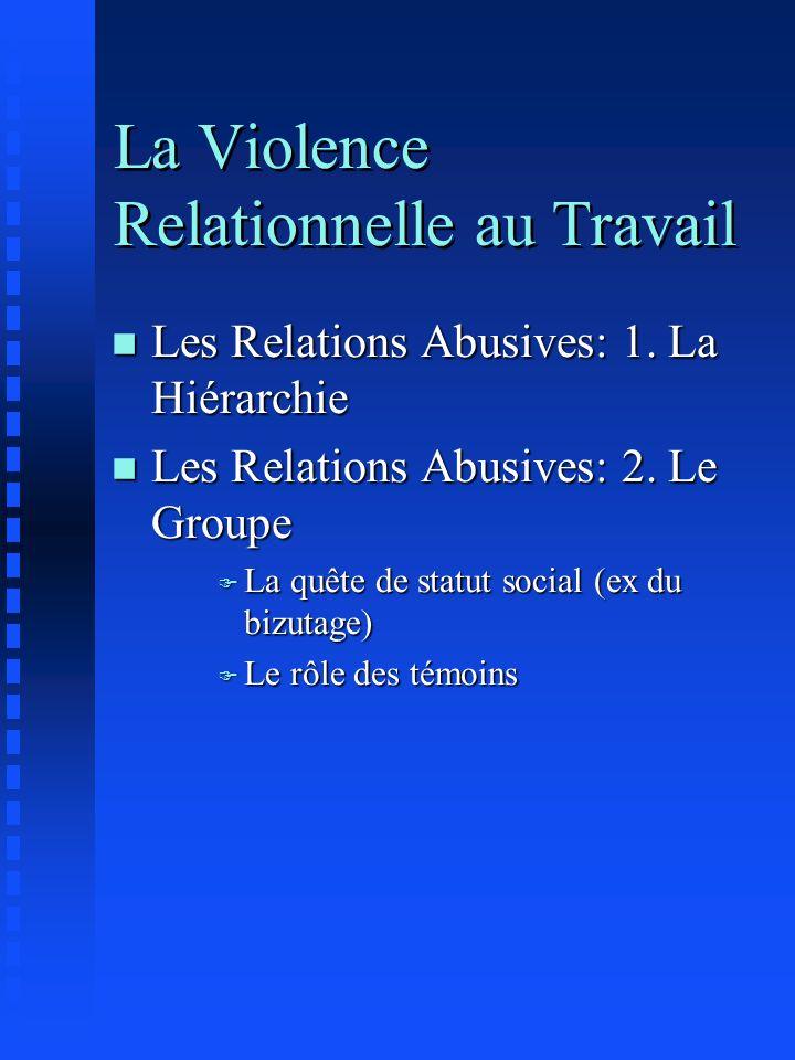 La Violence Relationnelle au Travail n Les Relations Abusives: 1. La Hiérarchie n Les Relations Abusives: 2. Le Groupe F La quête de statut social (ex