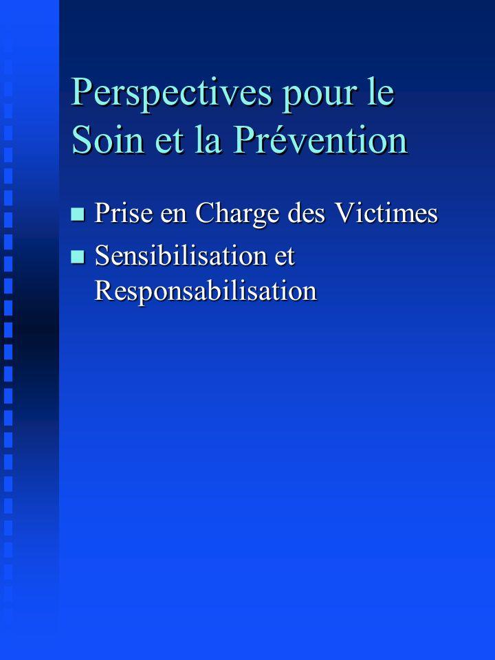 Perspectives pour le Soin et la Prévention n Prise en Charge des Victimes n Sensibilisation et Responsabilisation