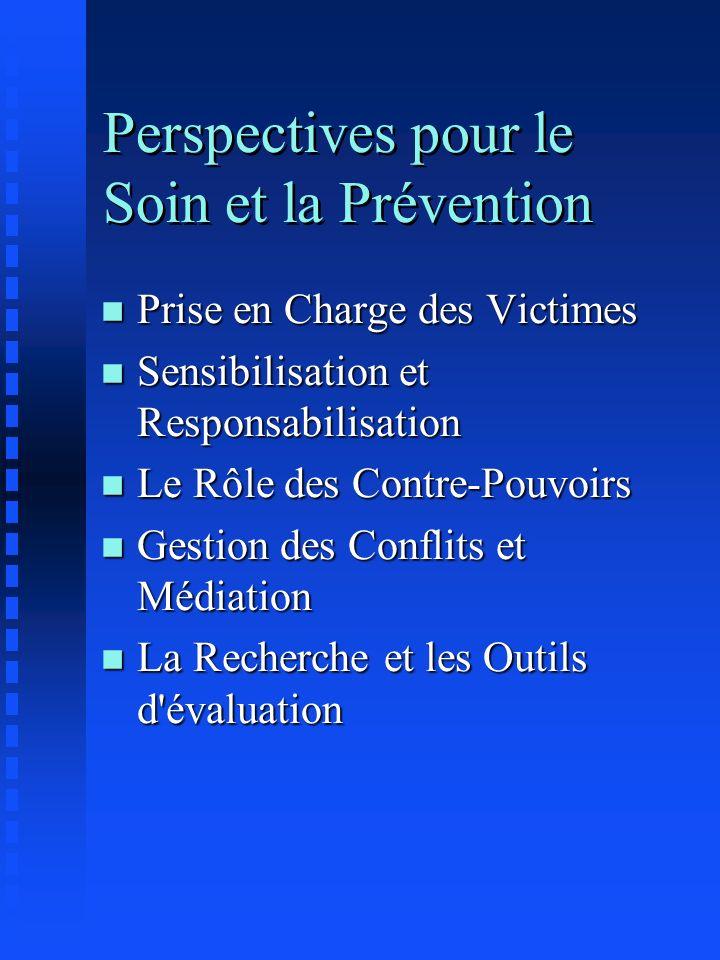 Perspectives pour le Soin et la Prévention n Prise en Charge des Victimes n Sensibilisation et Responsabilisation n Le Rôle des Contre-Pouvoirs n Gest
