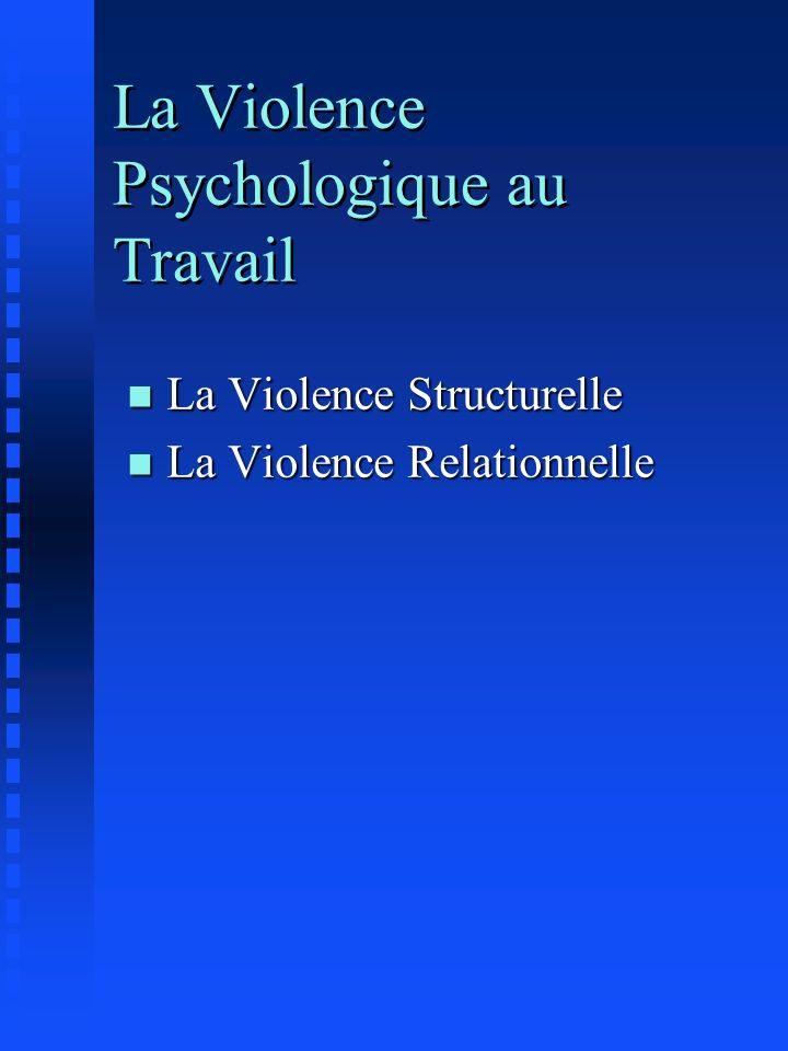 La Violence Psychologique au Travail n La Violence Structurelle n La Violence Relationnelle