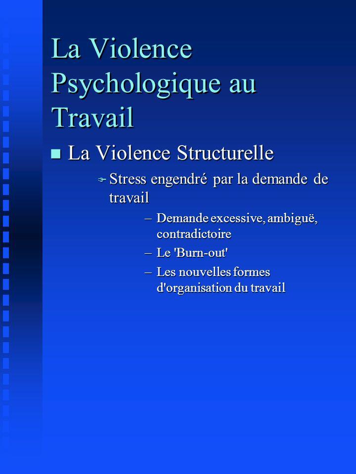 La Violence Psychologique au Travail n La Violence Structurelle F Stress engendré par la demande de travail –Demande excessive, ambiguë, contradictoir