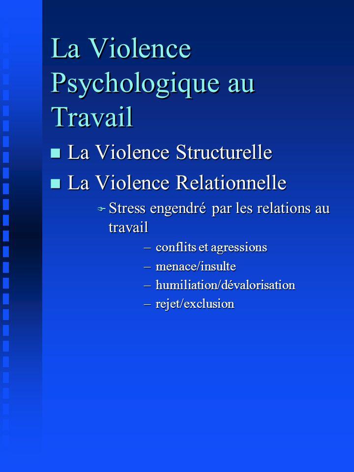 La Violence Psychologique au Travail n La Violence Structurelle n La Violence Relationnelle F Stress engendré par les relations au travail –conflits e