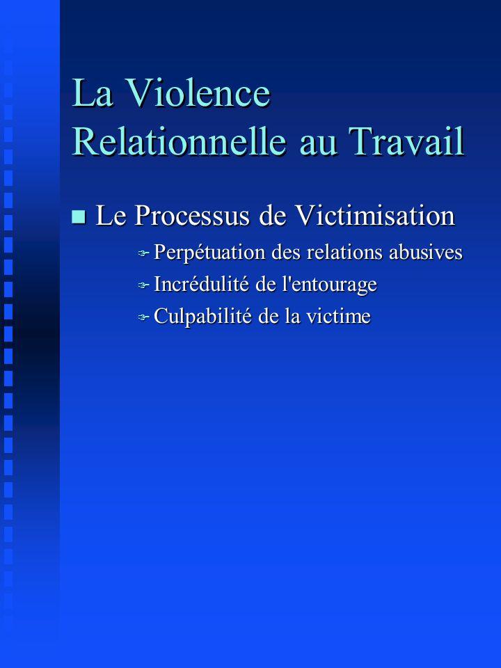 La Violence Relationnelle au Travail n Le Processus de Victimisation F Perpétuation des relations abusives F Incrédulité de l'entourage F Culpabilité