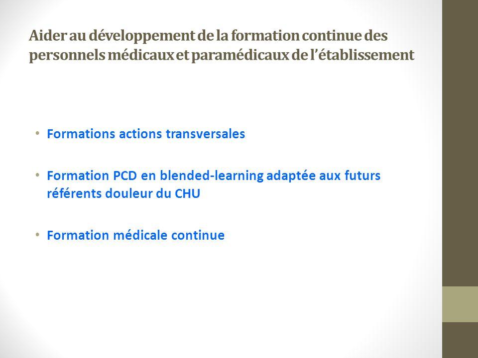 Aider au développement de la formation continue des personnels médicaux et paramédicaux de létablissement Formations actions transversales Formation P