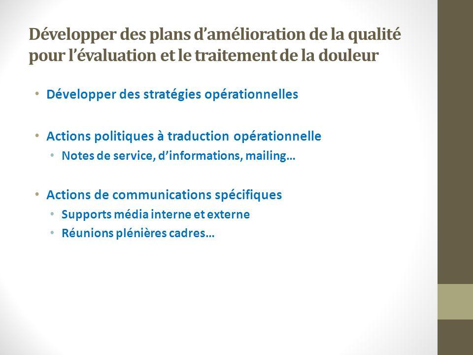 Développer des plans damélioration de la qualité pour lévaluation et le traitement de la douleur Développer des stratégies opérationnelles Actions pol