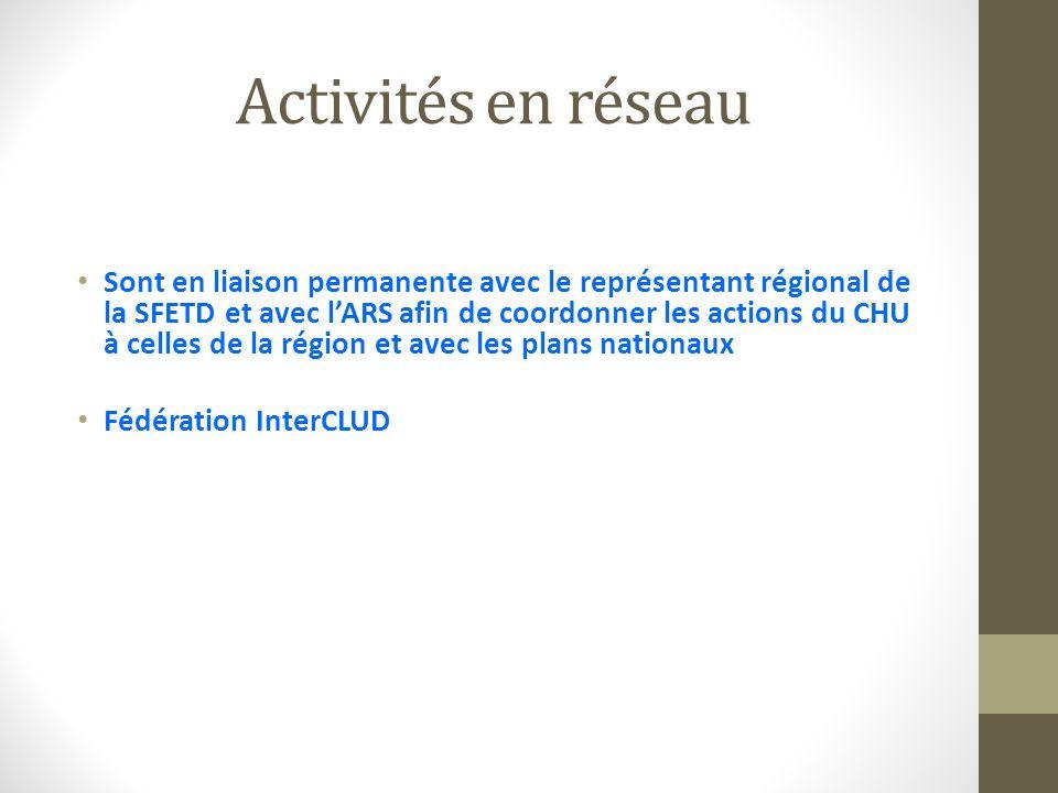 Activités en réseau Sont en liaison permanente avec le représentant régional de la SFETD et avec lARS afin de coordonner les actions du CHU à celles d