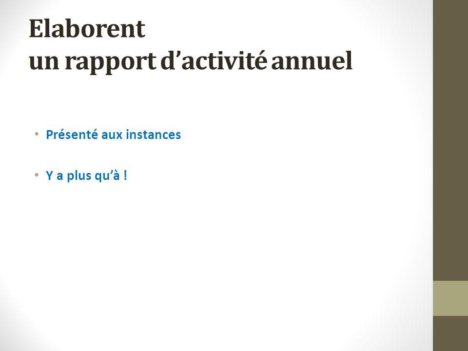 Elaborent un rapport dactivité annuel Présenté aux instances Y a plus quà !