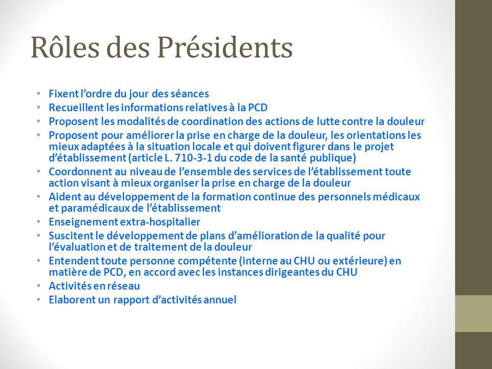 Rôles des Présidents Fixent lordre du jour des séances Recueillent les informations relatives à la PCD Proposent les modalités de coordination des act