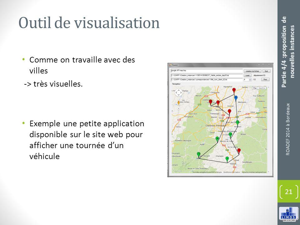 Outil de visualisation Comme on travaille avec des villes -> très visuelles. Exemple une petite application disponible sur le site web pour afficher u