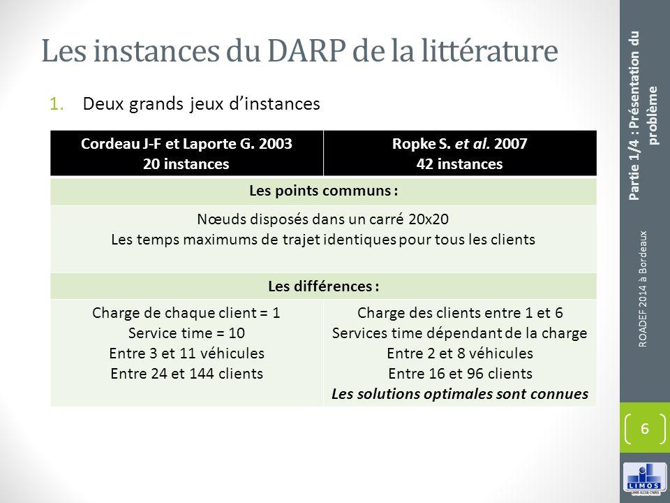 Les instances du DARP de la littérature 1.Deux grands jeux dinstances ROADEF 2014 à Bordeaux 6 Partie 1/4 : Présentation du problème Cordeau J-F et La