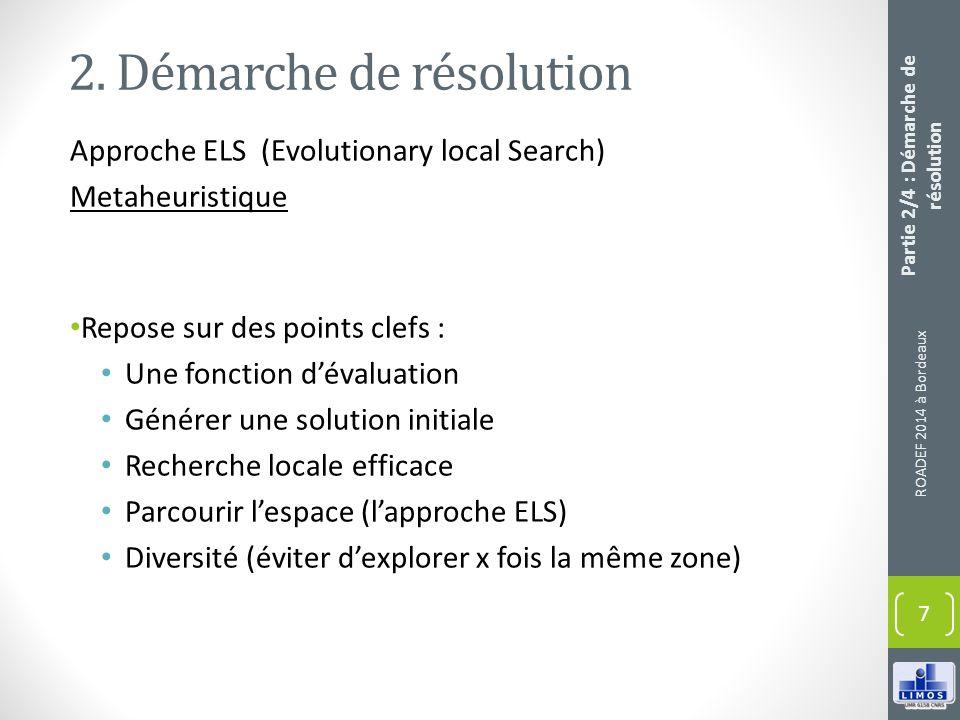 2. Démarche de résolution Approche ELS (Evolutionary local Search) Metaheuristique Repose sur des points clefs : Une fonction dévaluation Générer une