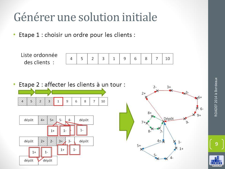 Générer une solution initiale Etape 1 : choisir un ordre pour les clients : Etape 2 : affecter les clients à un tour : ROADEF 2014 à Bordeaux 9