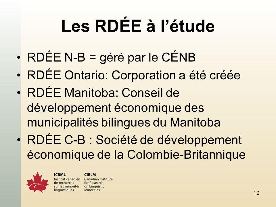 12 Les RDÉE à létude RDÉE N-B = géré par le CÉNB RDÉE Ontario: Corporation a été créée RDÉE Manitoba: Conseil de développement économique des municipalités bilingues du Manitoba RDÉE C-B : Société de développement économique de la Colombie-Britannique