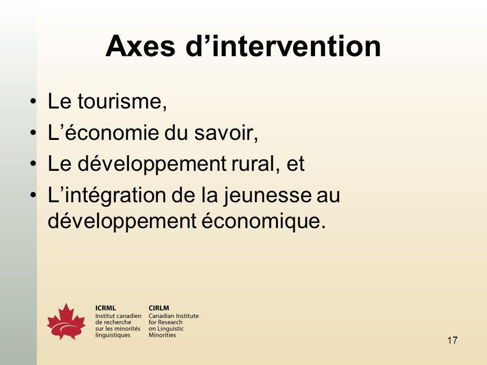 17 Axes dintervention Le tourisme, Léconomie du savoir, Le développement rural, et Lintégration de la jeunesse au développement économique.
