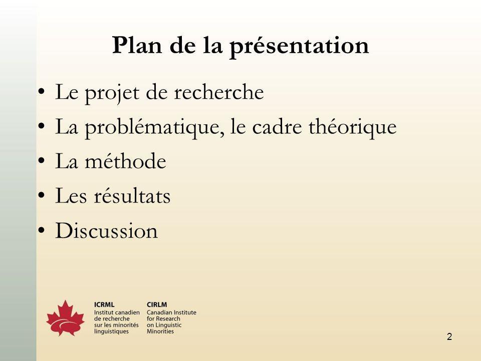 2 Plan de la présentation Le projet de recherche La problématique, le cadre théorique La méthode Les résultats Discussion
