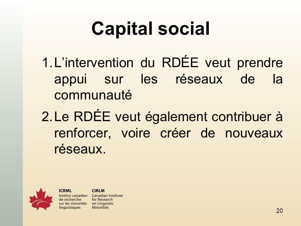 20 Capital social 1.Lintervention du RDÉE veut prendre appui sur les réseaux de la communauté 2.Le RDÉE veut également contribuer à renforcer, voire c
