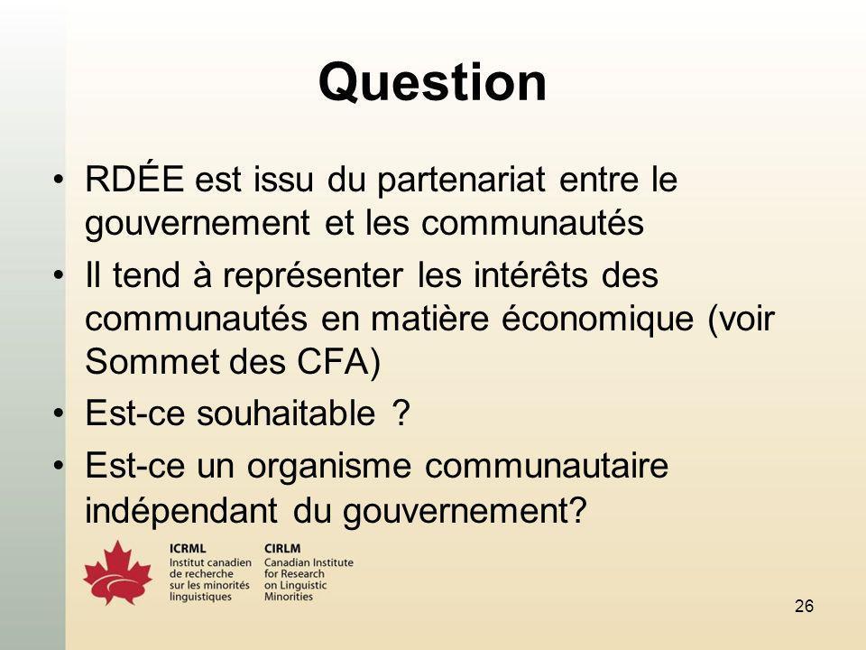 26 Question RDÉE est issu du partenariat entre le gouvernement et les communautés Il tend à représenter les intérêts des communautés en matière économique (voir Sommet des CFA) Est-ce souhaitable .