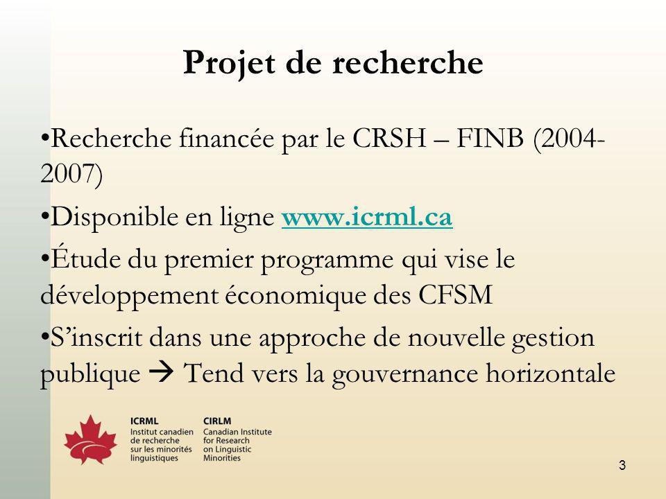 3 Projet de recherche Recherche financée par le CRSH – FINB (2004- 2007) Disponible en ligne www.icrml.cawww.icrml.ca Étude du premier programme qui vise le développement économique des CFSM Sinscrit dans une approche de nouvelle gestion publique Tend vers la gouvernance horizontale
