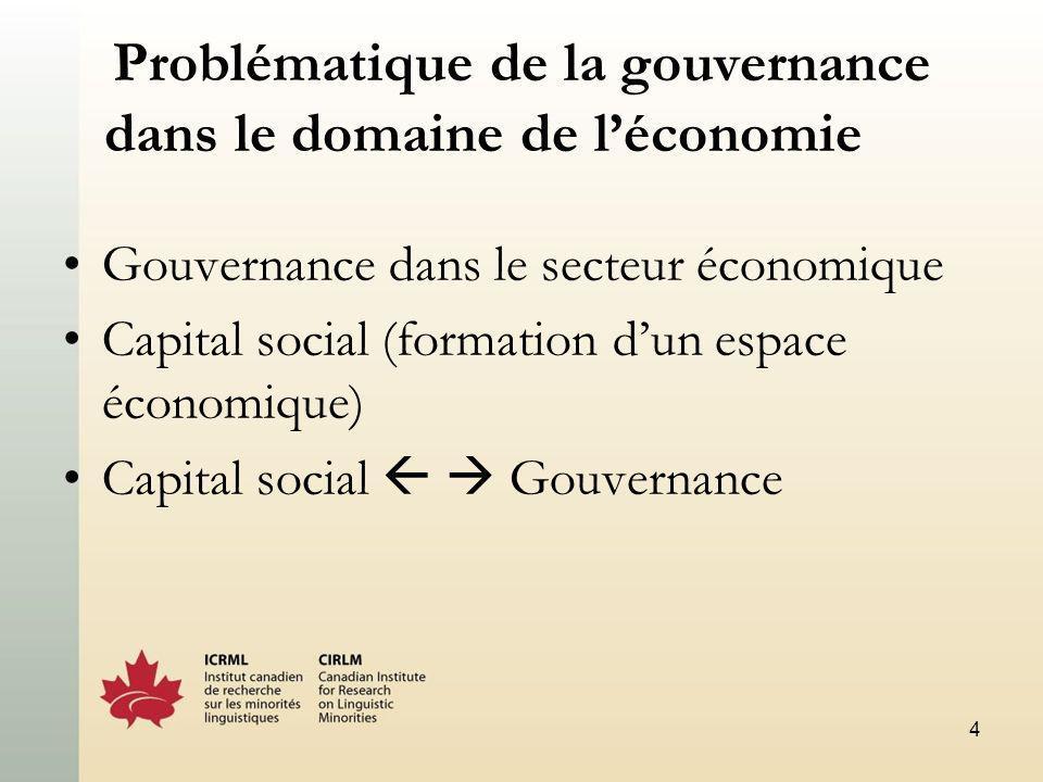 4 Problématique de la gouvernance dans le domaine de léconomie Gouvernance dans le secteur économique Capital social (formation dun espace économique) Capital social Gouvernance