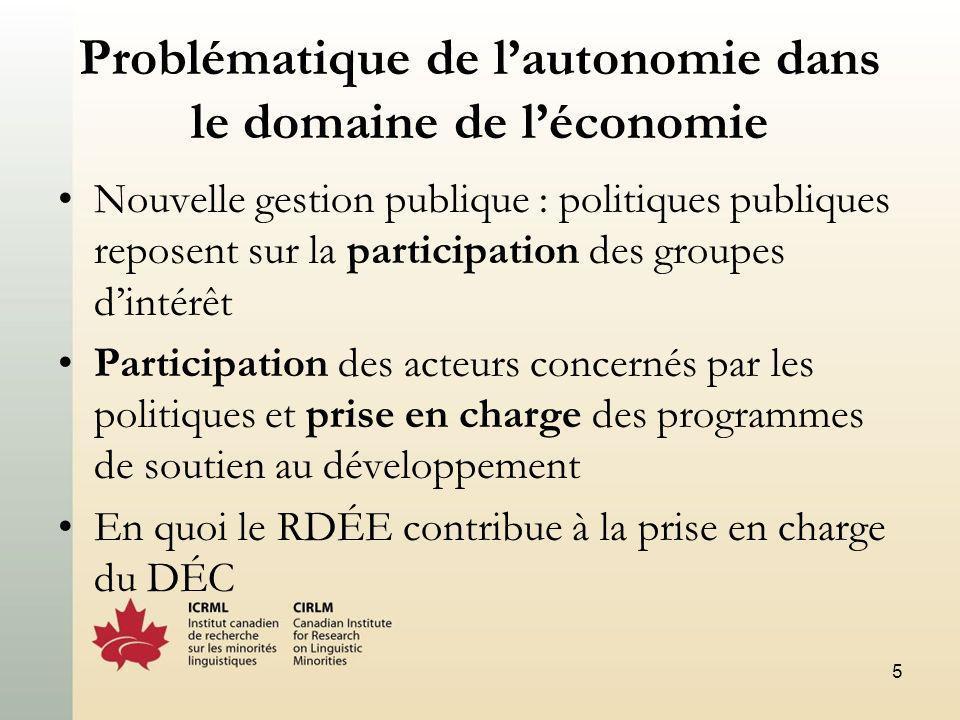 5 Problématique de lautonomie dans le domaine de léconomie Nouvelle gestion publique : politiques publiques reposent sur la participation des groupes