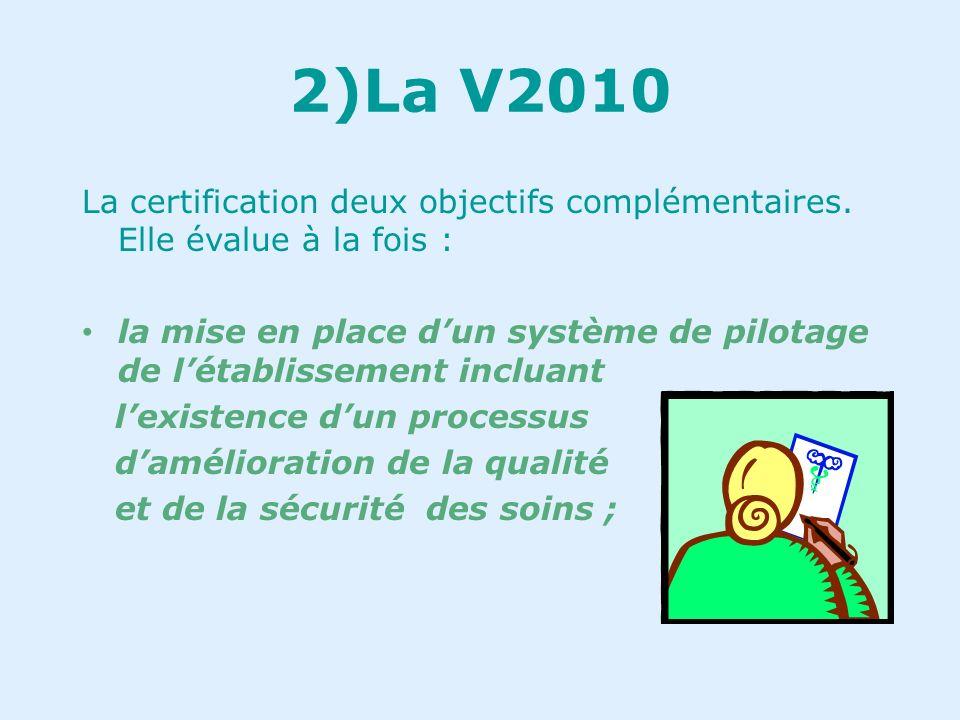 2)La V2010… 3ième version du référentiel de certification pour les établissements sanitaires. « lobjectif est doffrir au système de santé un dispositi