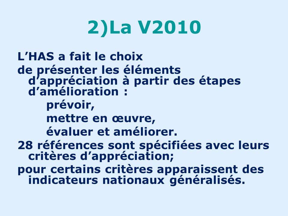 2)La V2010 LHAS a fait le choix dune meilleure évaluation du système de management ; dune présentation en deux chapitres : - le management - la prise en charge du patient …