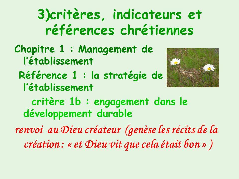 3)critères, indicateurs et références chrétiennes Chapitre 1 : Management de létablissement Référence 1 : la stratégie de létablissement critère 1a :