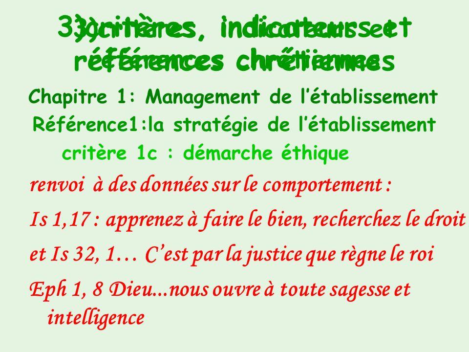 3)critères, indicateurs et références chrétiennes Chapitre 1 : Management de létablissement Référence 1 : la stratégie de létablissement critère 1b :