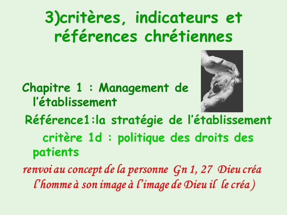 3)critères, indicateurs et références chrétiennes Chapitre 1: Management de létablissement Référence1:la stratégie de létablissement critère 1c : déma