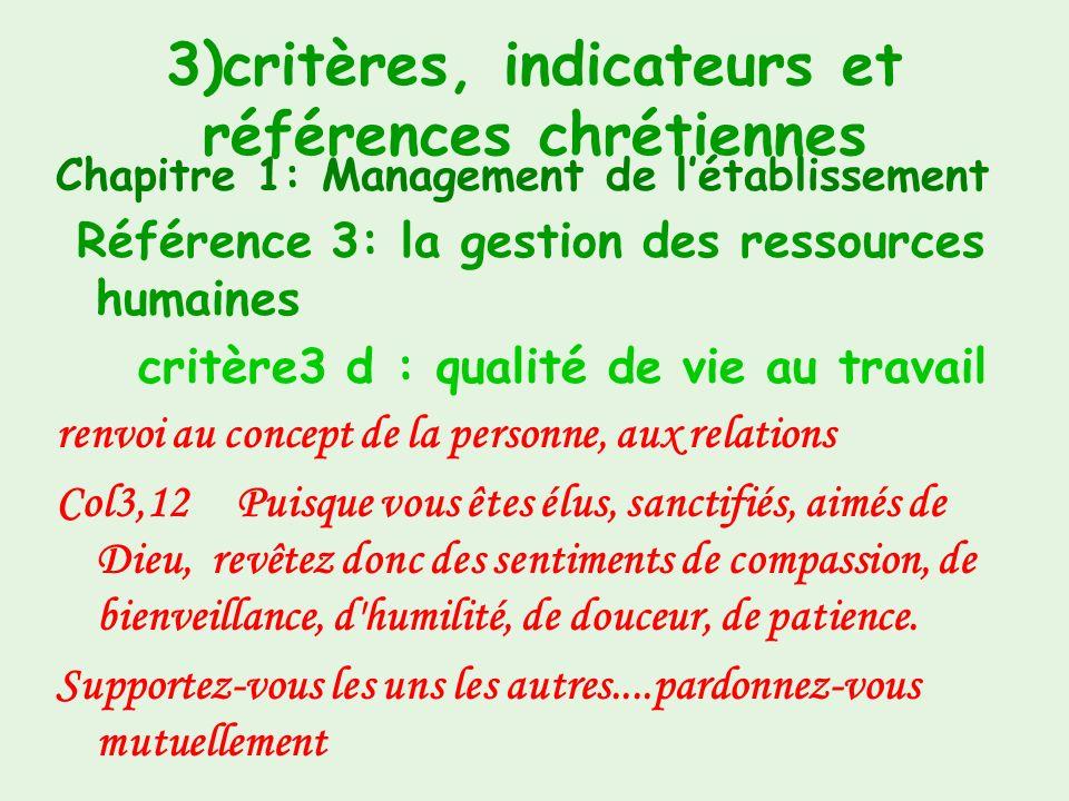 3)critères, indicateurs et références chrétiennes Chapitre 1 : Management de létablissement Référence 3 : la gestion des ressources humaines critère 3