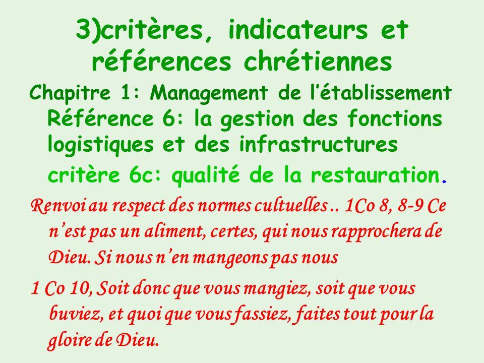 3)critères, indicateurs et références chrétiennes Chapitre 1: Management de létablissement Référence 6 : la gestion des fonctions logistiques et des i