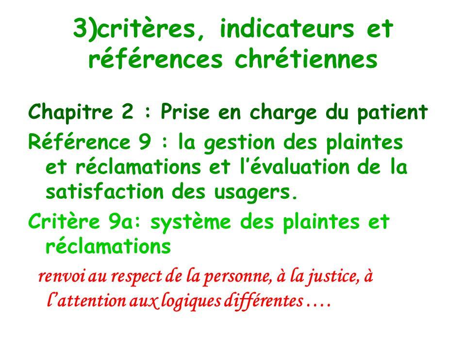 3)critères, indicateurs et références chrétiennes Chapitre 2 : Prise en charge du patient Quelques textes peuvent être références : Ceux auxquelles le