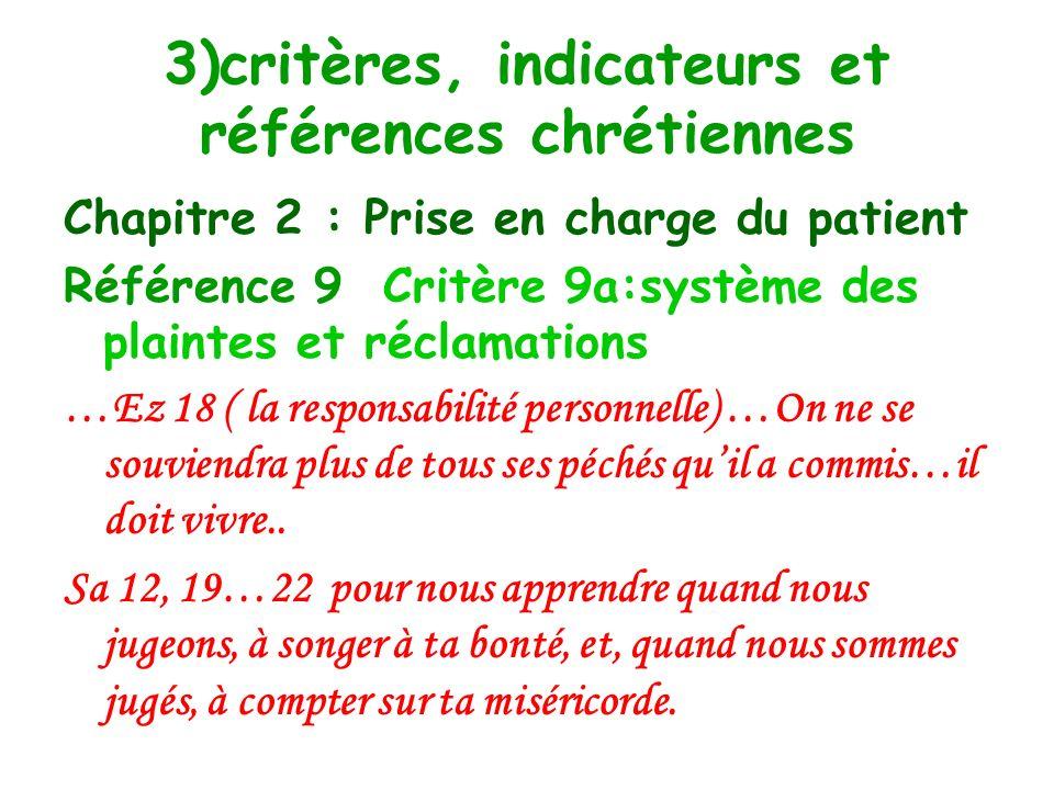 3)critères, indicateurs et références chrétiennes Chapitre 2 : Prise en charge du patient Référence 9 : la gestion des plaintes et réclamations et lévaluation de la satisfaction des usagers.
