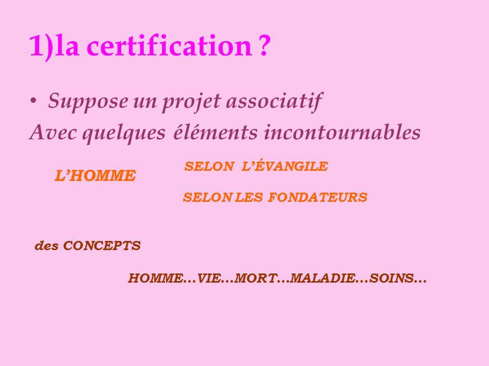 1)la certification ? Suppose un projet associatif pour fixer le cap déterminer la route orienter les actions