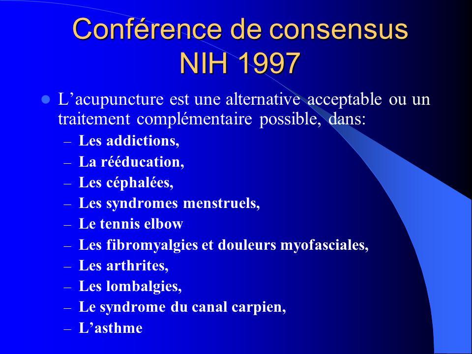 Conférence de consensus NIH 1997 Efficacité de lacupuncture démontrée dans: – Les nausées et vomissements post-opératoires et des chimiothérapies, chez ladulte, – Les douleurs dentaires post-opératoires.