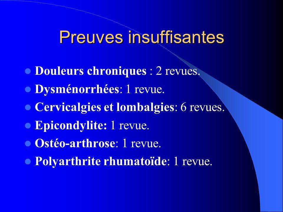 Les revues positives Douleurs dentaires et de larticulation temporo-mandibulaire: Ernst 1998 et Rosted 1998.